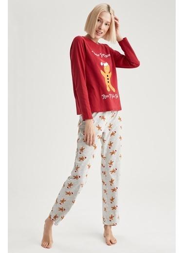 Defacto –Fit Yılbaşı Konseptli Uzun Kollu Pijama Takımı Gri